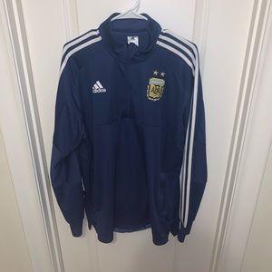 Men's adidas Argentina soccer blue quarter zip